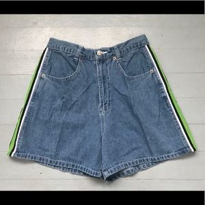 90's Y2K high rise jean shorts with side stripes